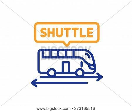 Shuttle Bus Line Icon. Airport Transport Sign. Transfer Service Symbol. Colorful Thin Line Outline C