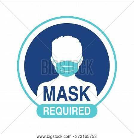 Mask Required Warning Prevention Sign - Human Face Silhouette With Protective Mask In Circular Frame