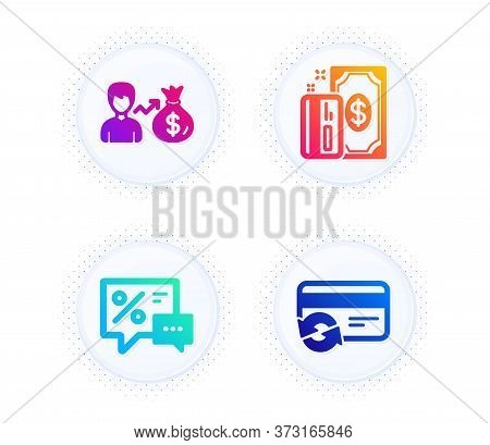 Payment, Discounts And Sallary Icons Simple Set. Button With Halftone Dots. Change Card Sign. Cash M