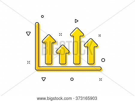 Financial Graph Sign. Growth Chart Icon. Upper Arrows Symbol. Business Investment. Yellow Circles Pa