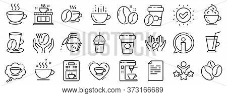 Beans, Hot Cocktail And Coffee Maker Machine. Coffee Line Icons. Espresso Cup, Cappuccino With Whipp