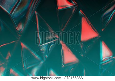Abstract Faceted Glass Background. Glitch Effect, Tint, Mist Colors And Light Diffraction