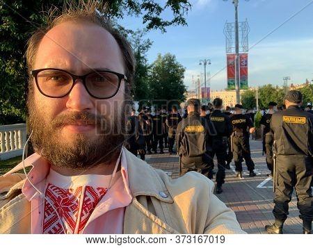 Minsk, Belarus - June 19, 2020: Political Protest Against Lukashenko Dictatorial Regime