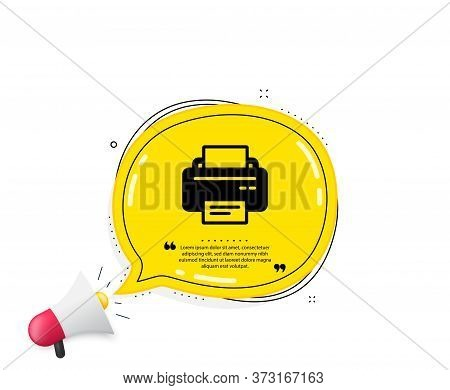 Printer Icon. Quote Speech Bubble. Printout Electronic Device Sign. Office Equipment Symbol. Quotati
