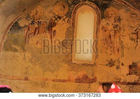 Demre, Turkey - 13,07,2014 Frescos In The Saint Nicholas (santa Clause) Church  In Demre, Turkey. It