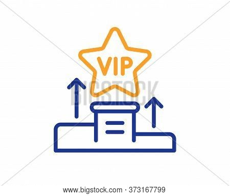 Vip Podium Line Icon. Very Important Person Star Sign. Member Club Privilege Symbol. Colorful Thin L