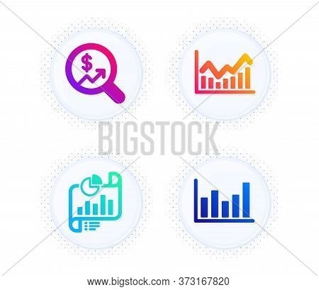 Report Document, Currency Audit And Infochart Icons Simple Set. Button With Halftone Dots. Column Ch
