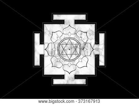 Yantra Design Icon In Old Marble, Hinduism Prakriti Sacred Diagram, 6 Pointed Star. Yantra Dasa Maha