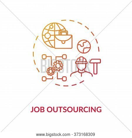 Job Outsourcing Red Gradient Concept Icon. Freelance Position. Delegate Work To Foreign Employee. Wo