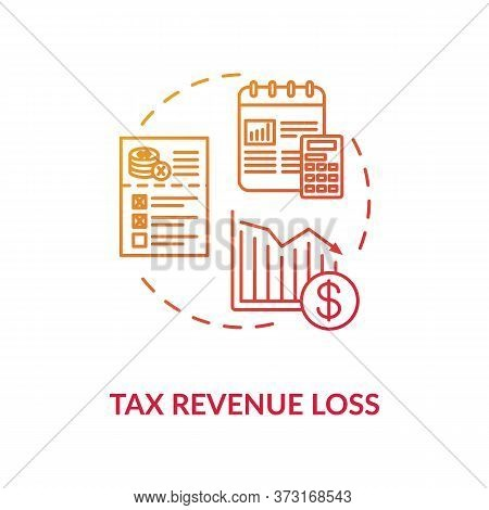 Tax Revenue Loss Red Gradient Concept Icon. Business Profit Reduction. Crisis In Industry, Social Is