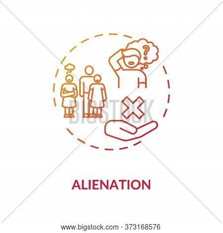 Alienation Red Gradient Concept Icon. Problem With Individual Integration In Society. Human Interact