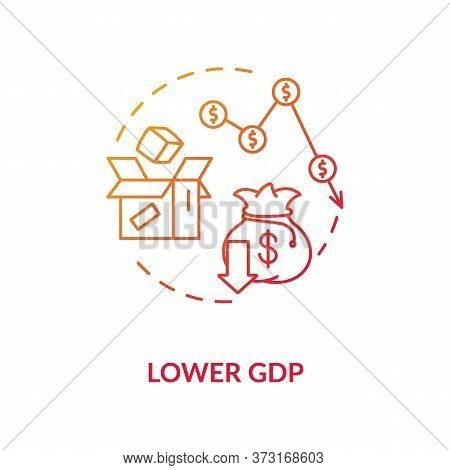 Lower Gdp Red Gradient Concept Icon. Negative Unemployment Outcome. Financial Loss. Decrease In Econ