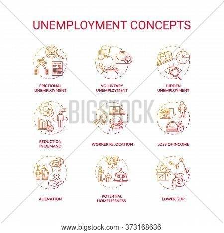 Unemployment Type Red Gradient Concept Icons Set. Potential Homelessness. Lower Gross Domestic Produ