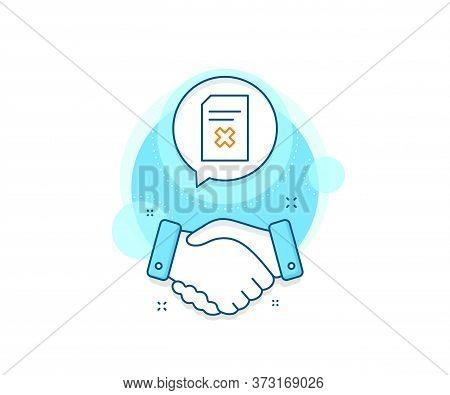 Delete Information File Sign. Handshake Deal Complex Icon. Remove Document Line Icon. Paper Page Con