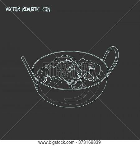 Chicken Tikka Masala Icon Line Element. Vector Illustration Of Chicken Tikka Masala Icon Line Isolat
