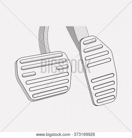 Gas Pedal Icon Line Element. Vector Illustration Of Gas Pedal Icon Line Isolated On Clean Background