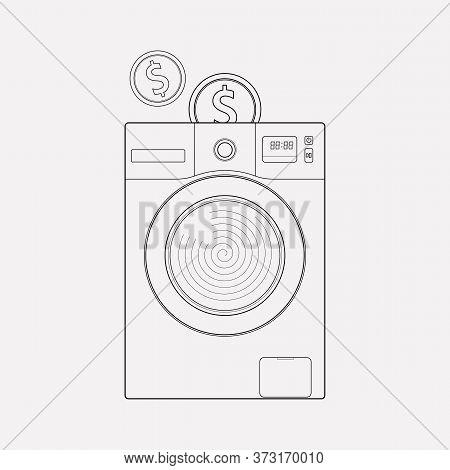 Self Service Laundry Icon Line Element. Vector Illustration Of Self Service Laundry Icon Line Isolat