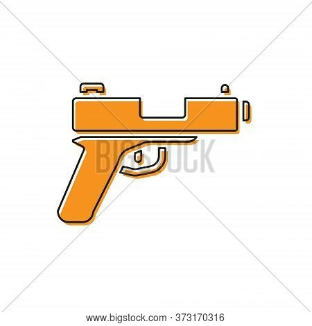 Orange Pistol Or Gun Icon Isolated On White Background. Police Or Military Handgun. Small Firearm. V