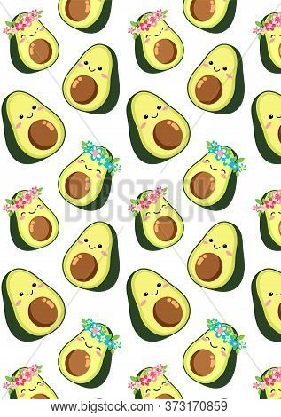 Cute Cartoon Avocado Couple: A Boy And A Girl In A Wreath Of Pink Blue Flowers. Two Green Halves Of