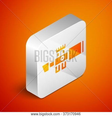 Isometric Sniper Optical Sight Icon Isolated On Orange Background. Sniper Scope Crosshairs. Silver S