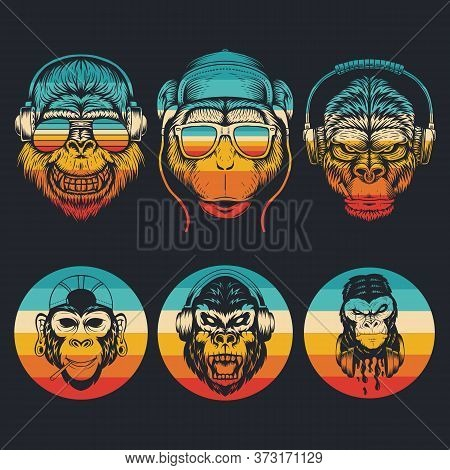 Monkey Music Collection Retro Vector Illustration For Your Company Or Brand
