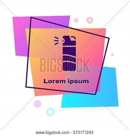 Purple Pepper Spray Icon Isolated On White Background. Oc Gas. Capsicum Self Defense Aerosol. Color