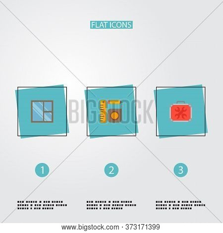 Set Of Construction Icons Flat Style Symbols With Universal Toolbox, Casement, Measurement Tools And