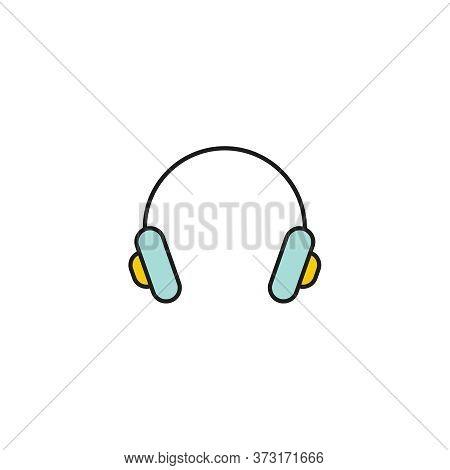 Color Vector Headphone Icon. Earphones On White Background