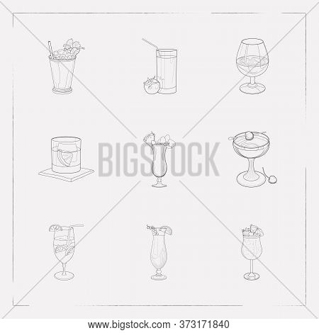 Set Of Beverage Icons Line Style Symbols With Blue Hawai, Manhattan Cocktail, Strawberry Colada And