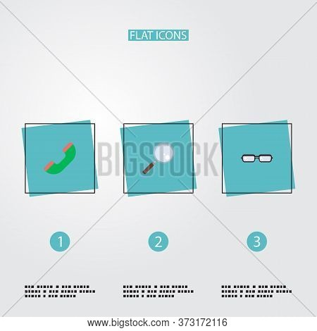 Set Of Business Icons Flat Style Symbols With Glasses, Loupe, Handset Icons For Your Web Mobile App