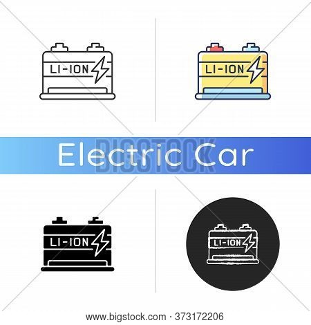 Lithium Ion Battery Icon. Linear Black And Rgb Color Styles. Modern Electric Equipment. Electric Veh