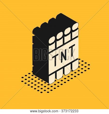 Isometric Detonate Dynamite Bomb Stick And Timer Clock Icon Isolated On Yellow Background. Time Bomb