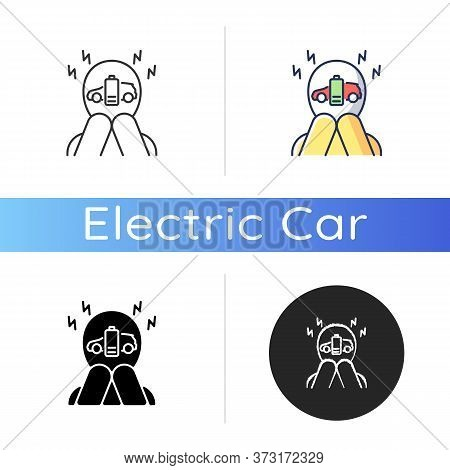 Range Anxiety Icon. Linear Black And Rgb Color Styles. Electric Vehicle Owner Stress, Psychological