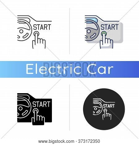 Keyless Ignition System Icon. Linear Black And Rgb Color Styles. Smart Automobile Attribute. Modern