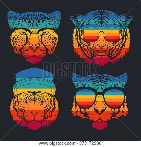 Predator Cat Collection Retro Vector Illustration For Your Company Or Brand