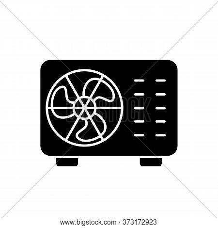 Split Air Conditioner Black Glyph Icon. Interior Environment Refrigeration System Silhouette Symbol
