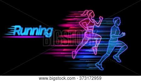 Running Neon Light Landing Page Template. Man And Woman Jogging Website Layout. Healthy Lifestyle An