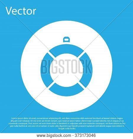 Blue Lifebuoy Icon Isolated On Blue Background. Lifebelt Symbol. White Circle Button. Vector
