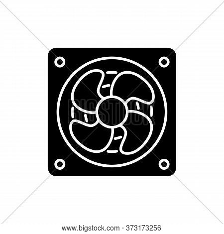 Computer Cooler Black Glyph Icon. Desktop Pc Ventilation And Hardware Cooling Silhouette Symbol On W