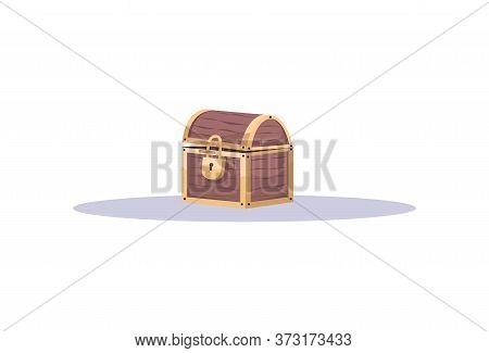 Treasure Chest Semi Flat Rgb Color Vector Illustration. Pirate Themed Escape Room Attribute Isolated