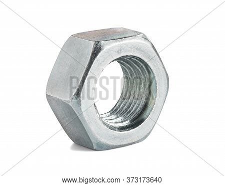 Steel Fastener Nut On A Isolated White Background
