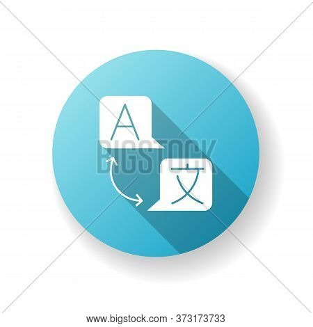 Language Translation Blue Flat Design Long Shadow Glyph Icon. Freelance Interpreter. Online Dictiona