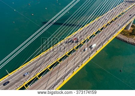 Kwai Tsing, Hong Kong 24 November 2019: Aerial view of Ting Kau bridge