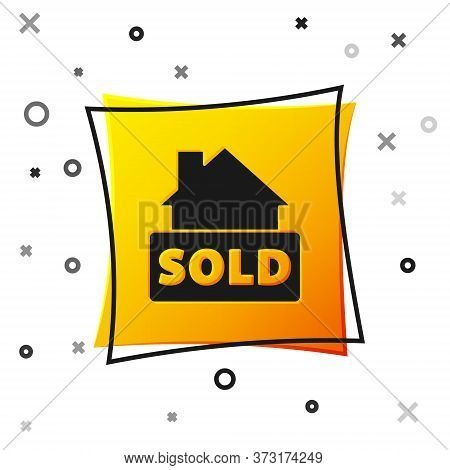 Black Hanging Sign With Text Sold Icon Isolated On White Background. Sold Sticker. Sold Signboard. Y
