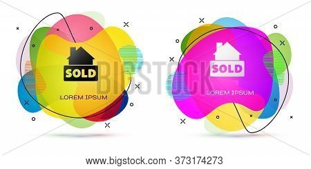 Color Hanging Sign With Text Sold Icon Isolated On White Background. Sold Sticker. Sold Signboard. A