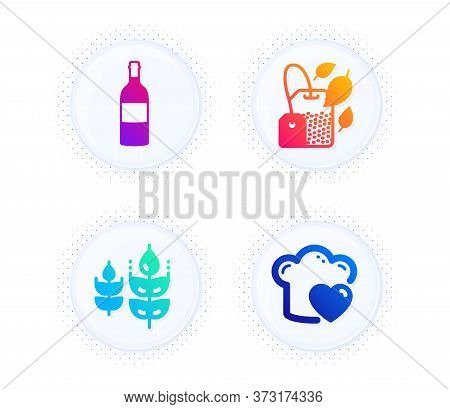 Gluten Free, Mint Bag And Wine Bottle Icons Simple Set. Button With Halftone Dots. Love Cooking Sign