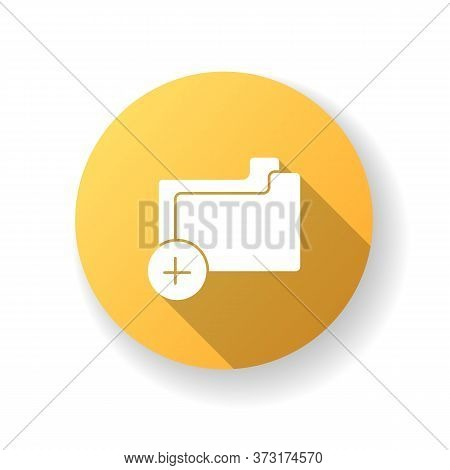 Empty Folder Yellow Flat Design Long Shadow Glyph Icon. Add File To Computer Archive. New Directory