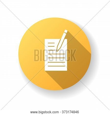 Creative Writing Yellow Flat Design Long Shadow Glyph Icon. Notebook With List. Online Blog. Brief F