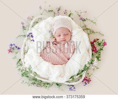 Sleeping newborn baby girl wrapped in a basket with flowers