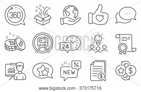 Set Of Business Icons, Such As Financial Documents, Loyalty Points. Diploma, Ideas, Save Planet. Met